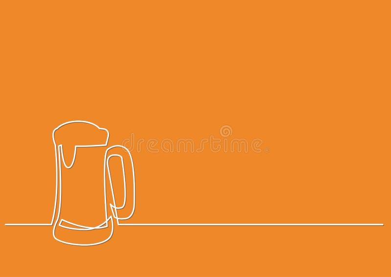 Непрерывная линия чертеж кружки пива иллюстрация вектора