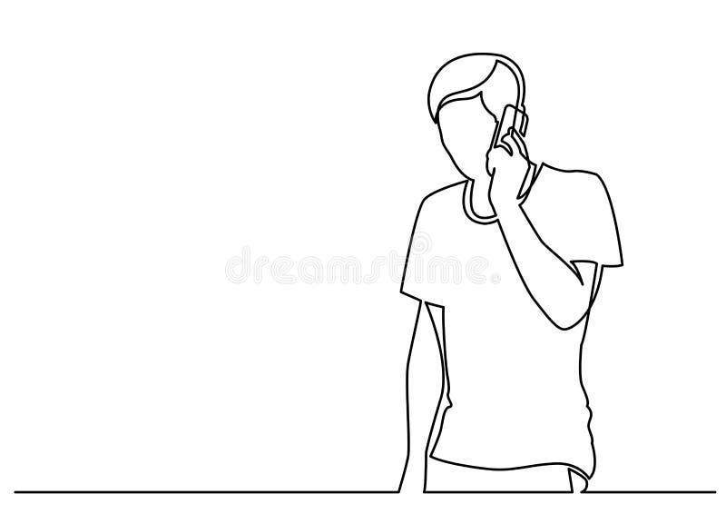 Непрерывная линия чертеж молодого человека говоря на мобильном телефоне иллюстрация штока