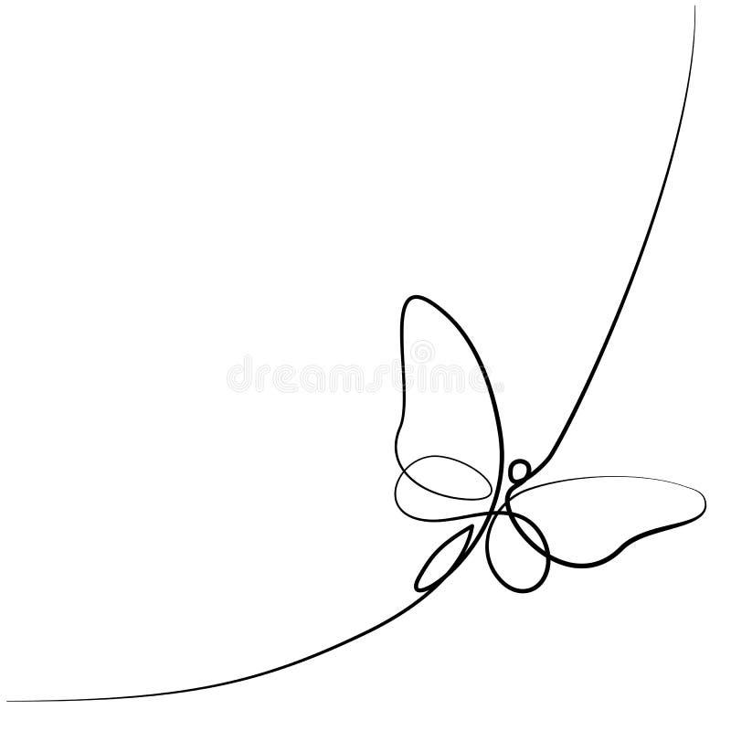 Непрерывная линия бабочка иллюстрация вектора