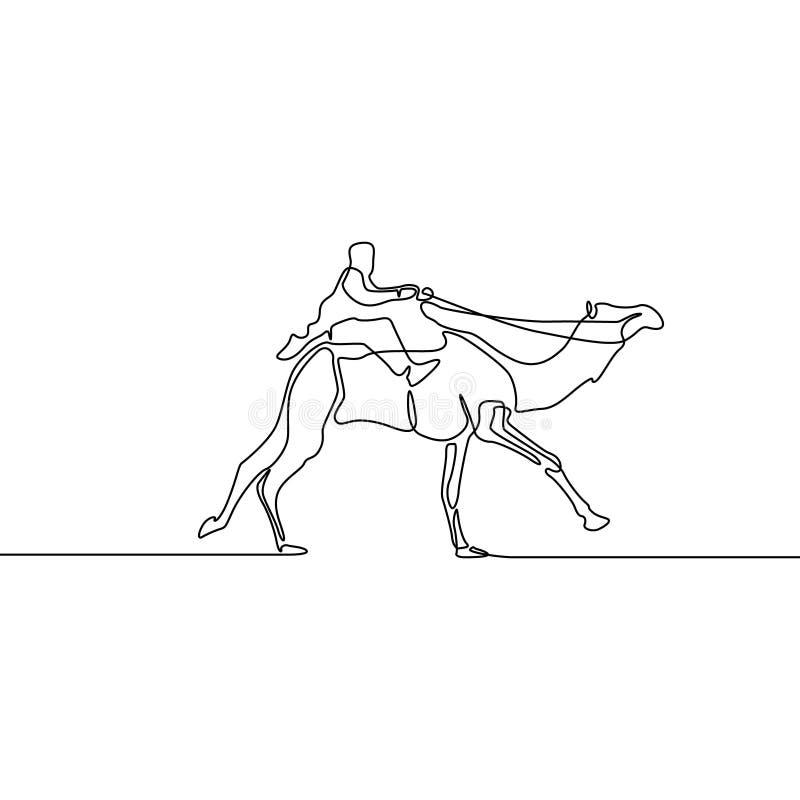 Непрерывная линия верблюд всадника чертежа идущий r иллюстрация вектора