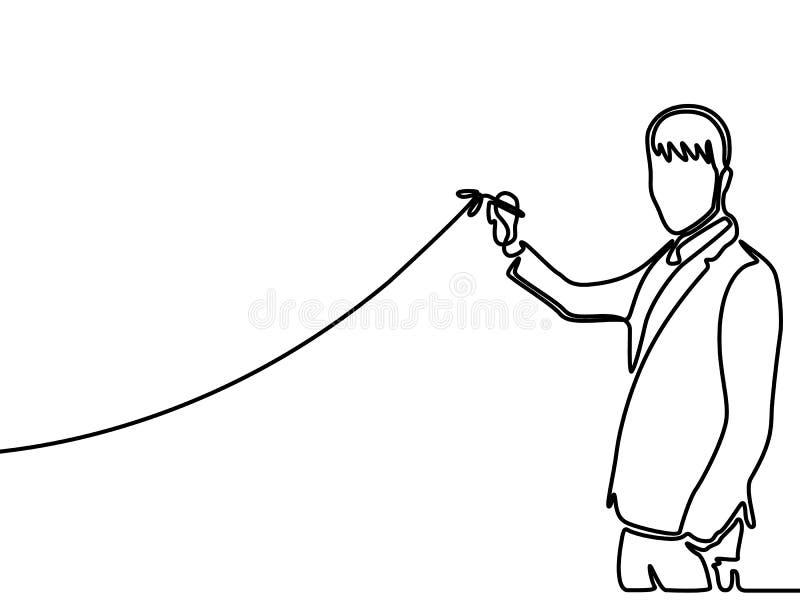 Непрерывная линия диаграмма чертежа бизнесмена чертежа поднимая r иллюстрация штока