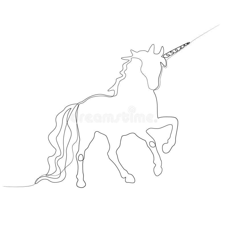 Непрерывная линия единорог Новый минимализм r иллюстрация вектора
