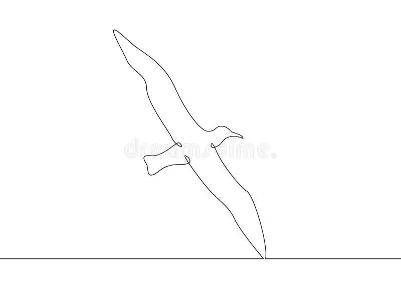 Непрерывная линия летание птицы чертежа бесплатная иллюстрация