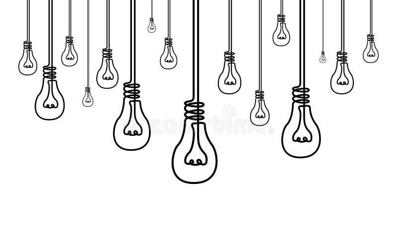 Непрерывная линия много электрические лампочки, много идей, концепция творческих способностей иллюстрация штока
