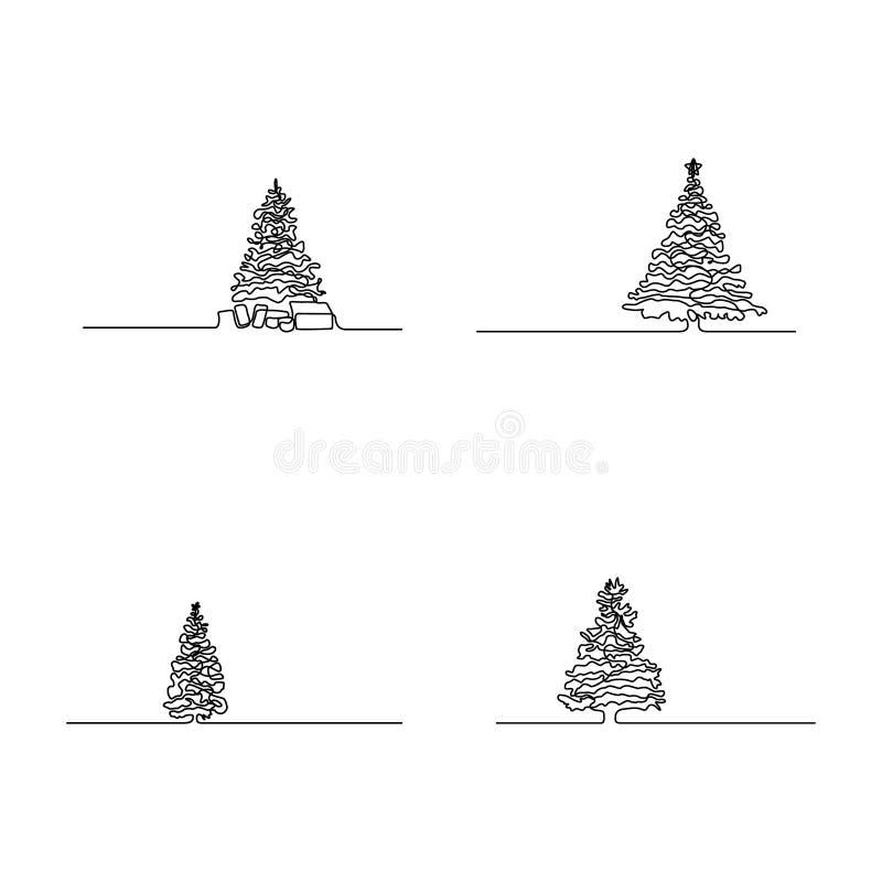 Непрерывная линия набор рождественской елки r иллюстрация вектора