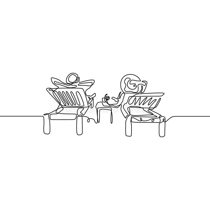 Непрерывная линия пара любов ослабить на deckchair r иллюстрация вектора