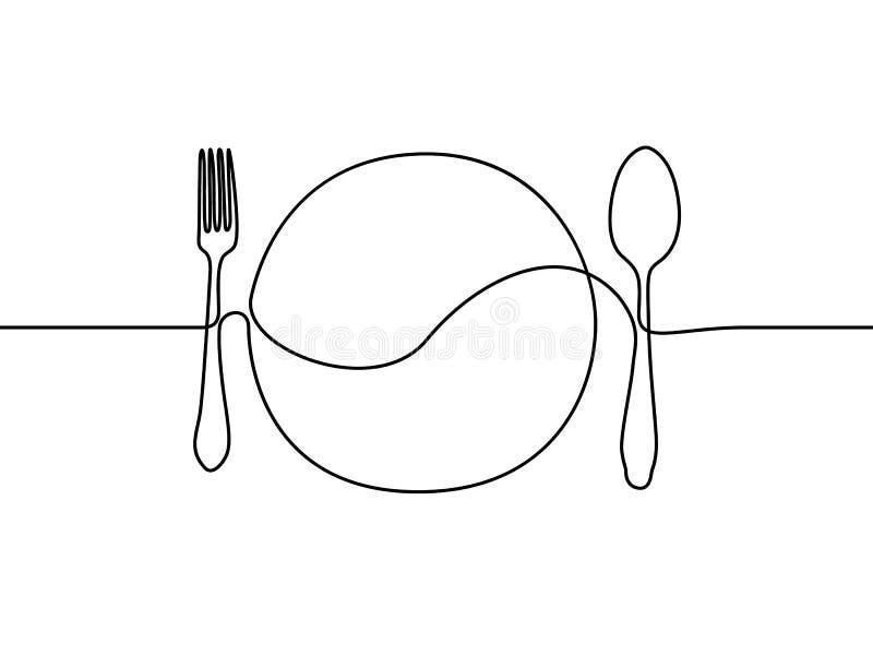 Непрерывная линия плита, ложка и вилка r иллюстрация вектора