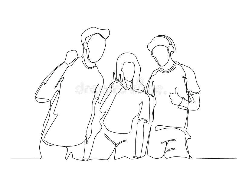 Непрерывная линия чертеж 3 веселя парней иллюстрация вектора