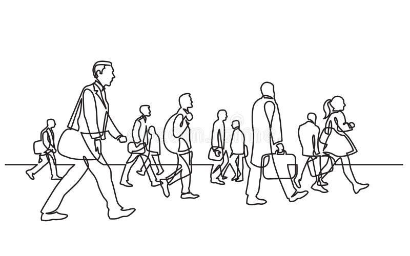 Непрерывная линия чертеж городских регулярных пассажиров пригородных поездов идя на улицу города иллюстрация вектора
