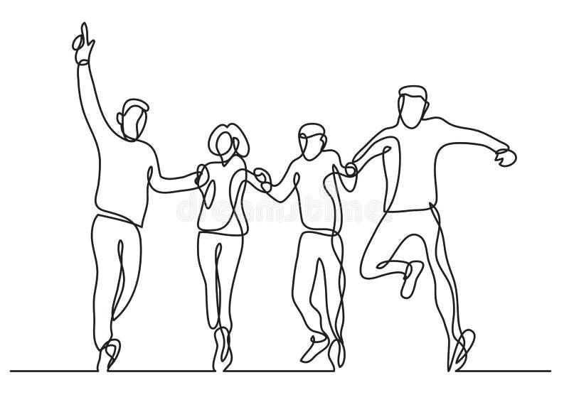 Непрерывная линия чертеж группы в составе скакать 4 людей иллюстрация вектора
