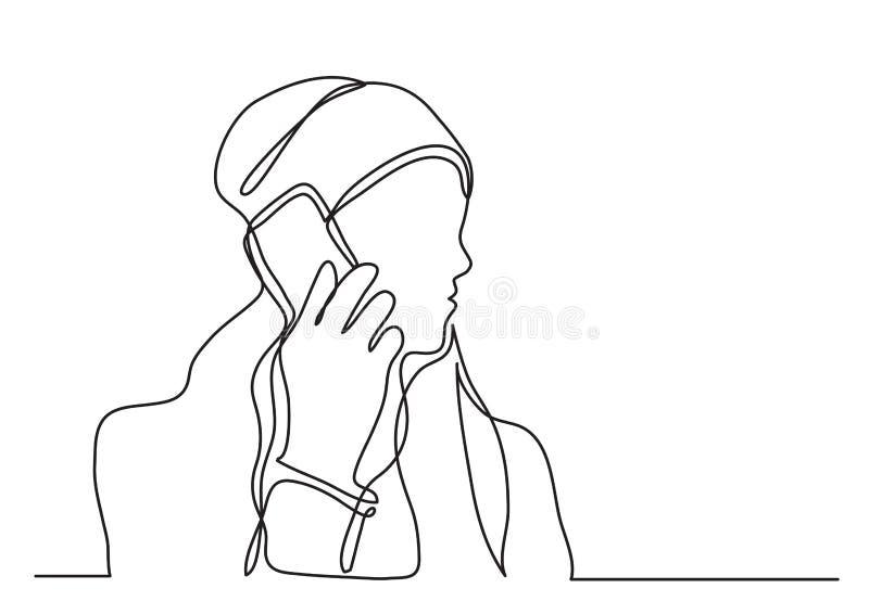 Непрерывная линия чертеж женщины говоря на сотовом телефоне иллюстрация штока