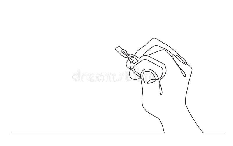 Непрерывная линия чертеж ключа автомобиля удерживания руки иллюстрация штока
