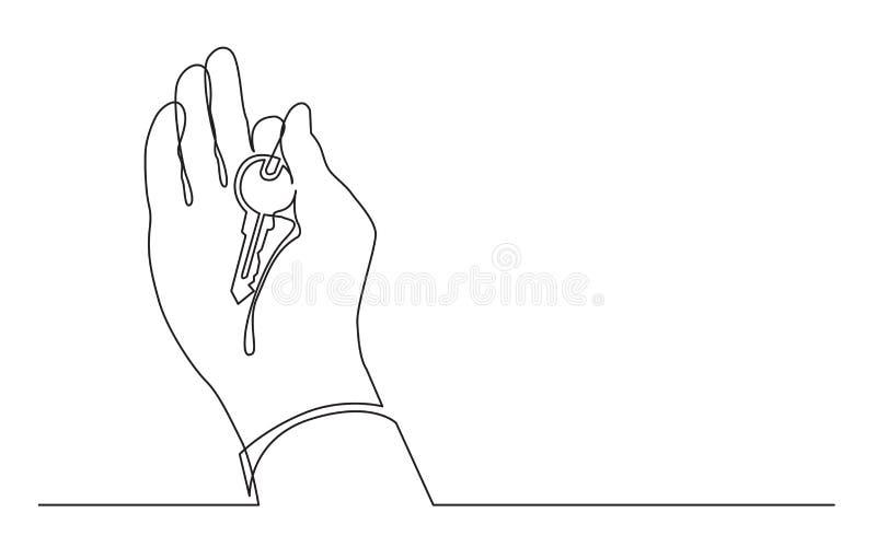 Непрерывная линия чертеж ключа удерживания руки иллюстрация штока