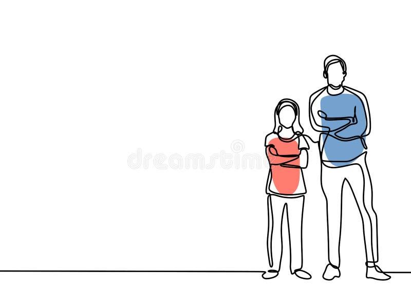 Непрерывная линия чертеж концепции Father' отца и детей прекрасной семьи; момент счастья карты дня s иллюстрация штока