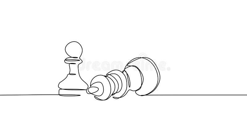 непрерывная линия чертеж пешки нося вниз с ферзя на иллюстрации вектора турнира бесплатная иллюстрация