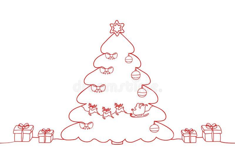 Непрерывная линия чертеж праздника рождества, Санта Клаус на санях, оленях, рождественской елке и игрушках, снежинках, подарках иллюстрация штока