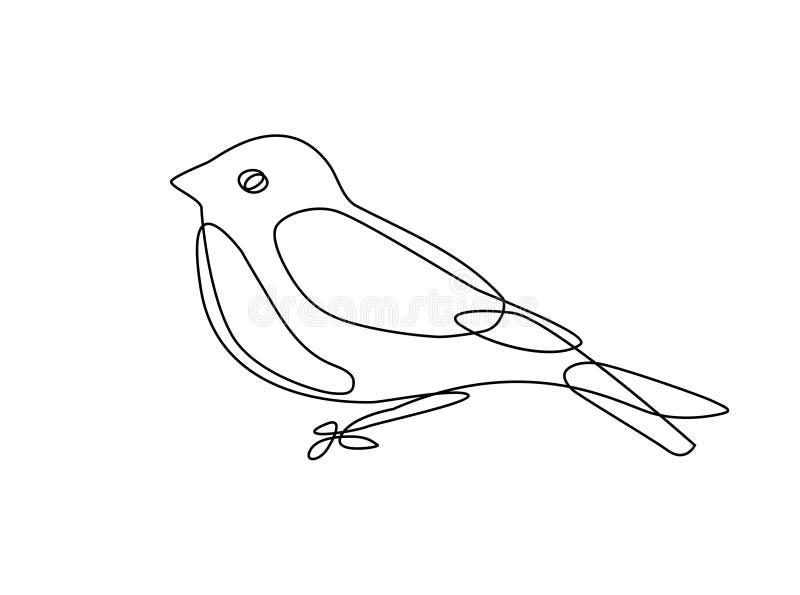 Непрерывная линия чертеж птицы иллюстрация штока