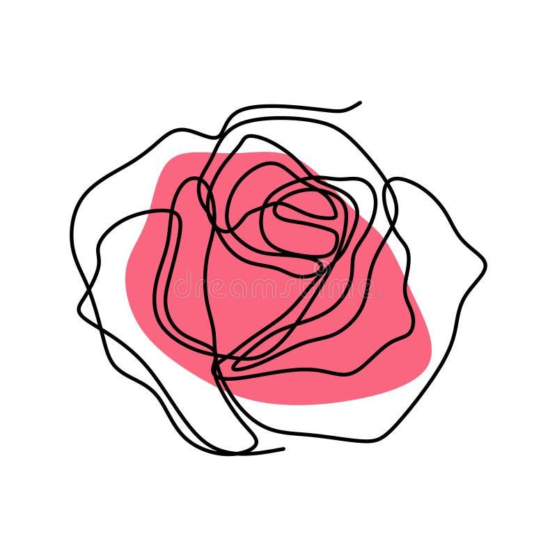 Непрерывная линия чертеж розового вектора цветка бесплатная иллюстрация