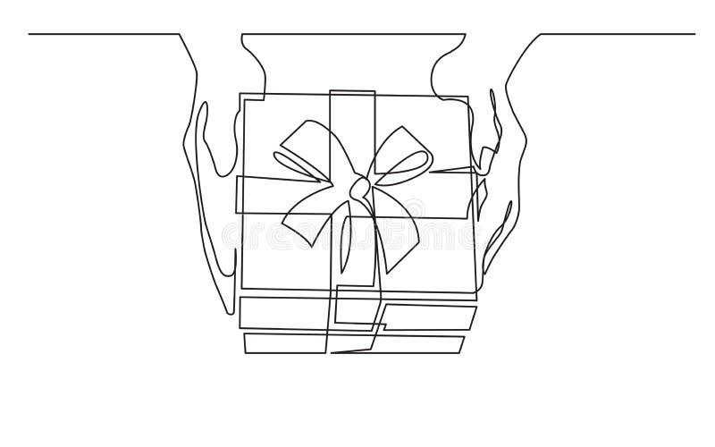 Непрерывная линия чертеж рук руки давая подарочную коробку иллюстрация вектора