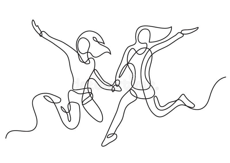 Непрерывная линия чертеж скакать 2 девушек иллюстрация вектора