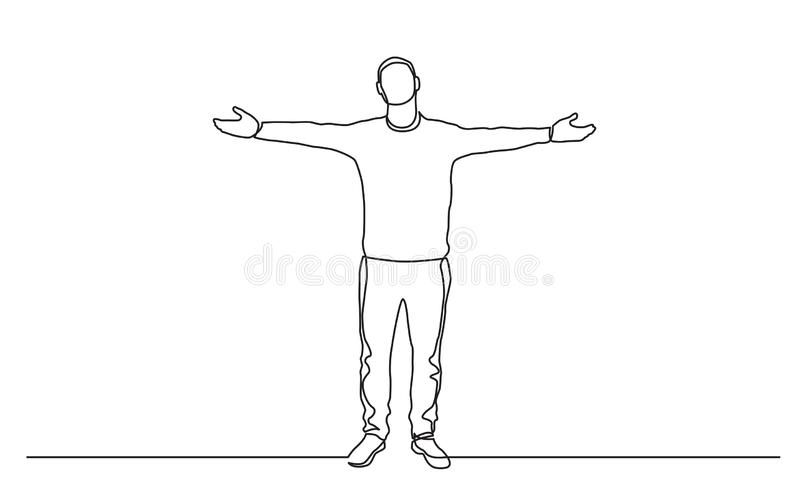 Непрерывная линия чертеж стоя оружий человека распространяя иллюстрация вектора