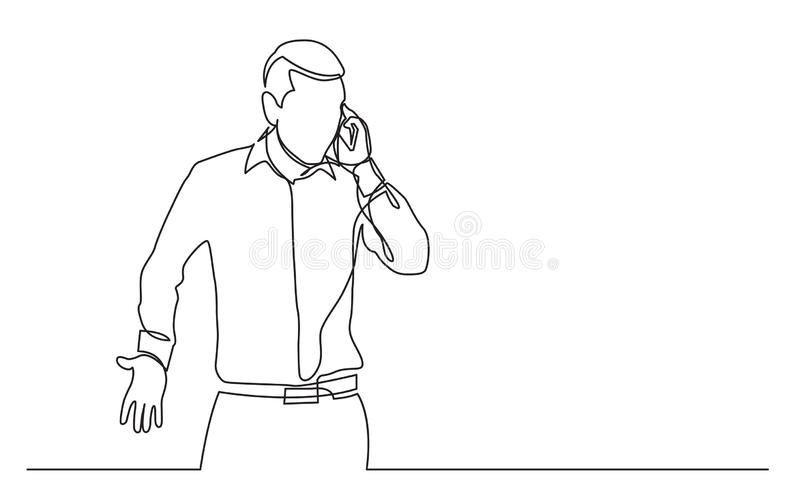 Непрерывная линия чертеж стоя человека эмоционально говоря на сотовом телефоне иллюстрация вектора