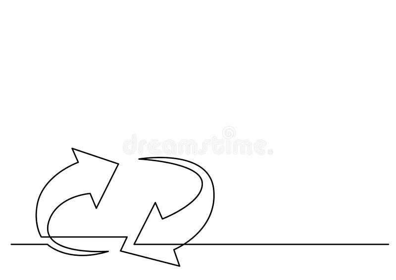 Непрерывная линия чертеж стрелок цикла иллюстрация вектора