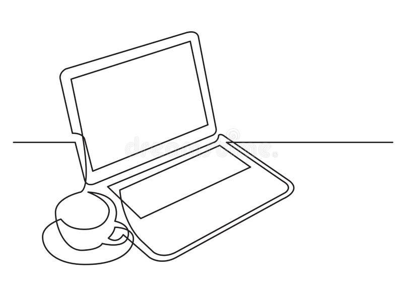 Непрерывная линия чертеж чашки чаю ноутбука иллюстрация штока