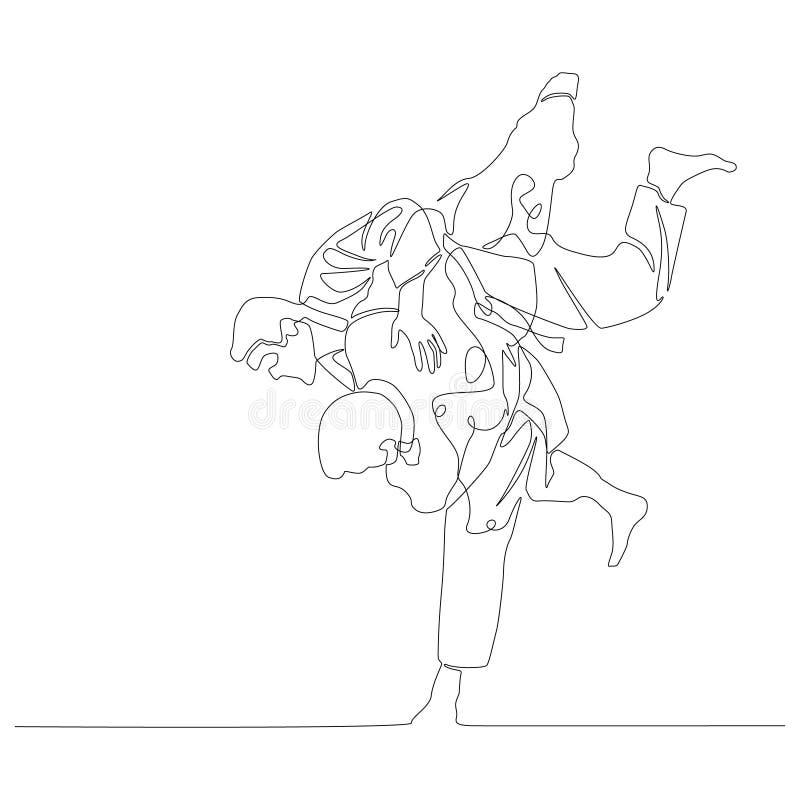 Непрерывная линия judoka чертежа делает ход Тема дзюдо r иллюстрация вектора