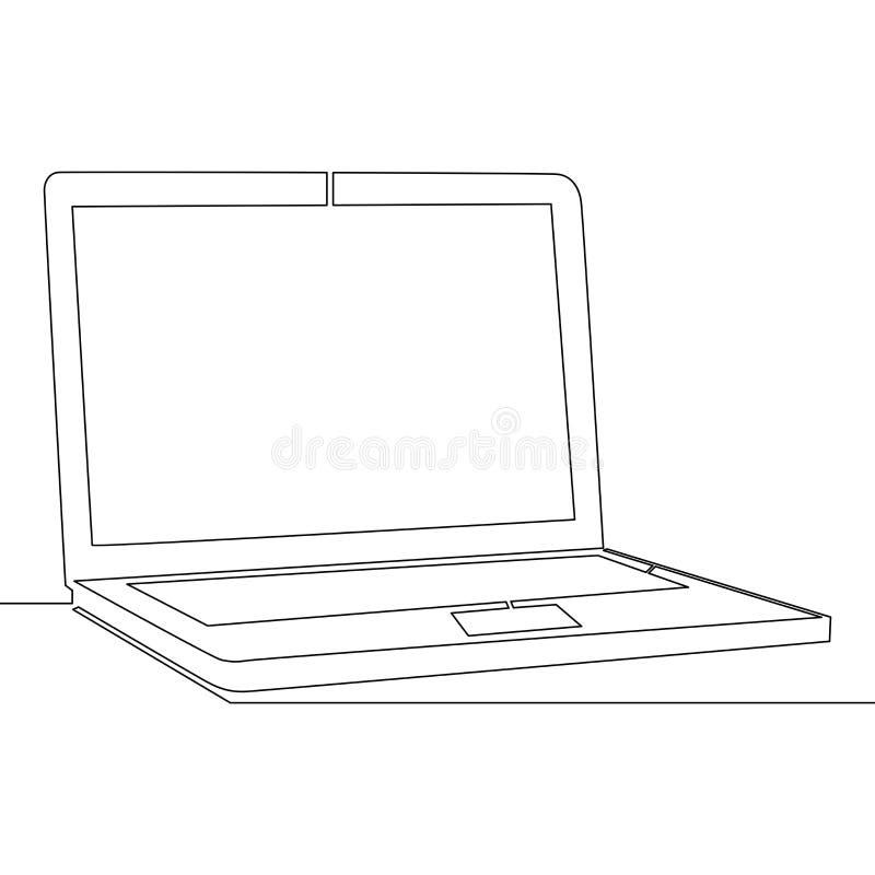 Непрерывная одна концепция вектора ноутбука отдельной линии иллюстрация вектора