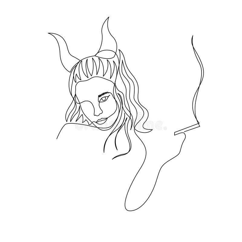 Непрерывная одна линия женщина дьявола с рожками курит сигарету r иллюстрация вектора