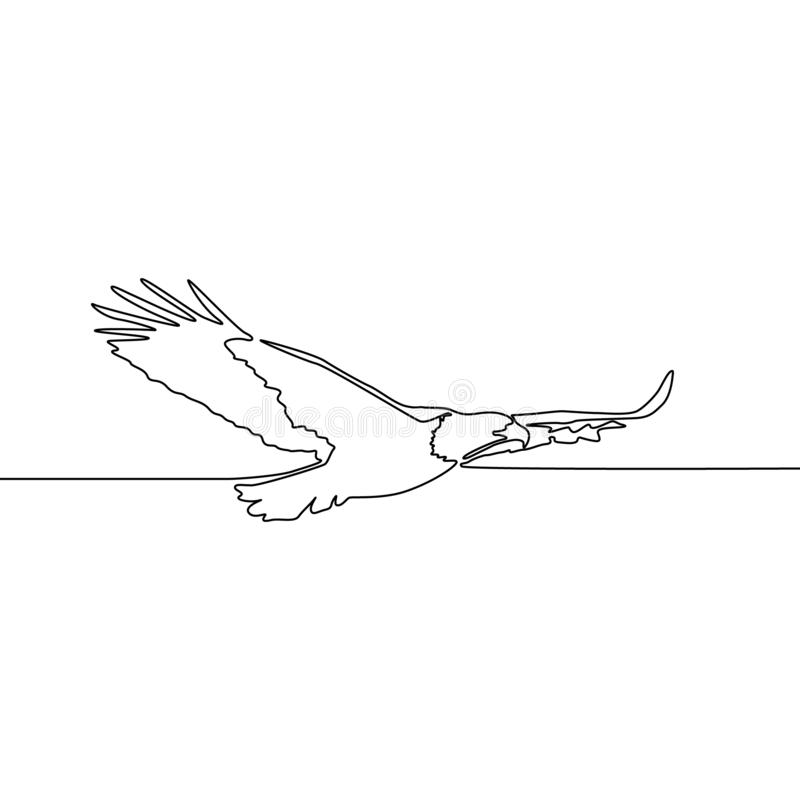 Непрерывная одна линия орел летания чертежа r иллюстрация вектора