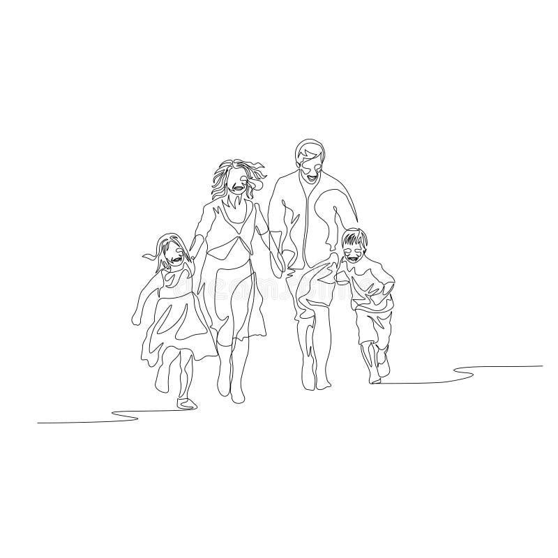 Непрерывная одна линия семья идя держащ руки и ход к камере бесплатная иллюстрация