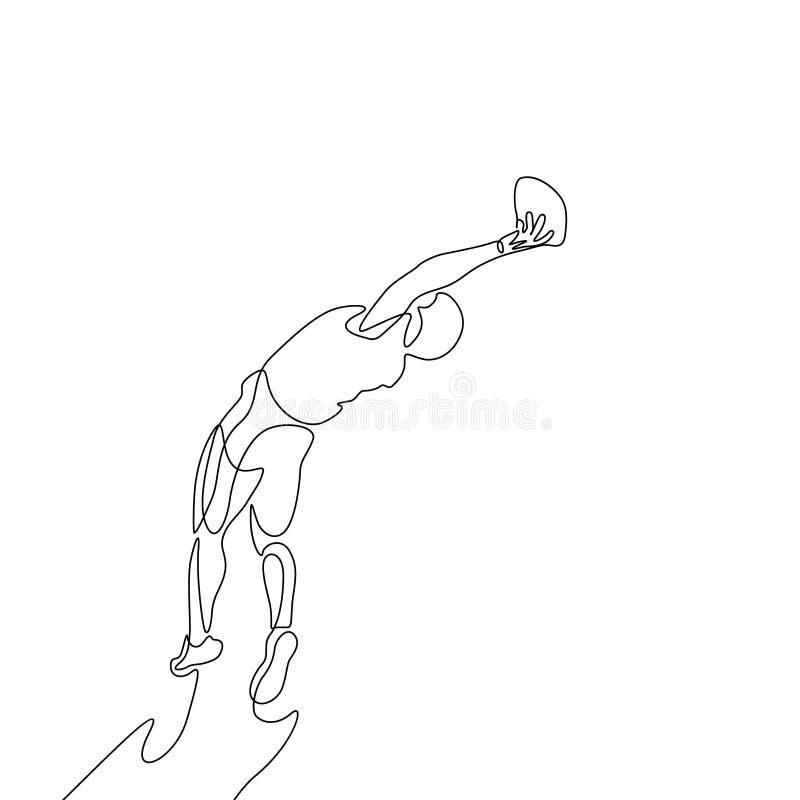 Непрерывная одна линия футболист чертежа американский скачет для того чтобы уловить шарик иллюстрация вектора