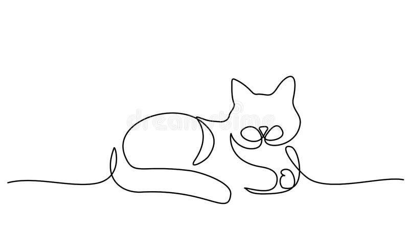 Непрерывная одна линия чертеж Кот сидит иллюстрация штока