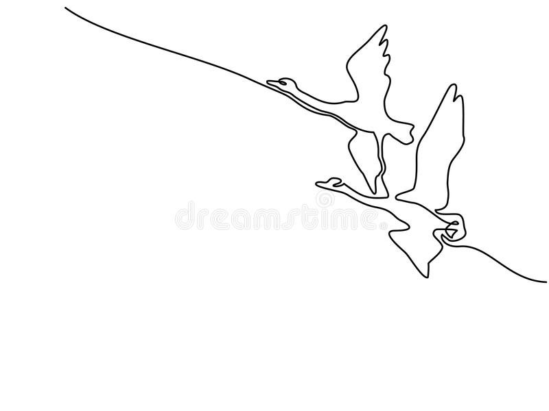 Непрерывная одна линия чертеж Логотип лебедей летания бесплатная иллюстрация