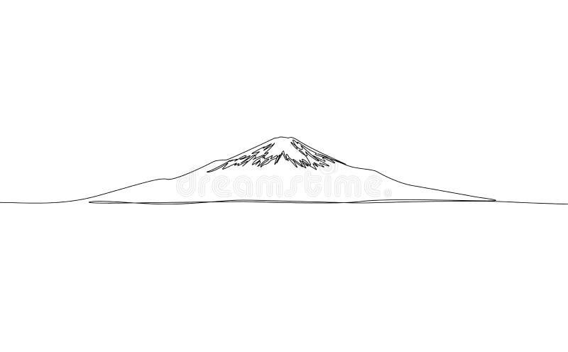 Непрерывная одна линия чертеж Фудзи, вектор r иллюстрация вектора