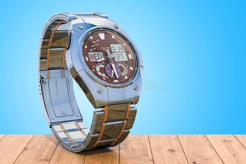 Непрерывнодискретные наручные часы для людей на деревянном столе rende 3D бесплатная иллюстрация