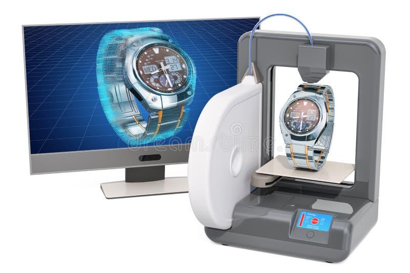 Непрерывнодискретные наручные часы для людей на трехмерном принтере, 3d печатании, перевод 3D иллюстрация вектора