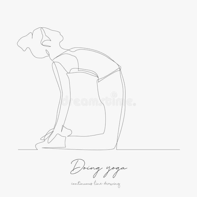 Непрерывное рисование строки делать йогу простая векторная иллюстрация рисовать линию эскиза иллюстрация вектора
