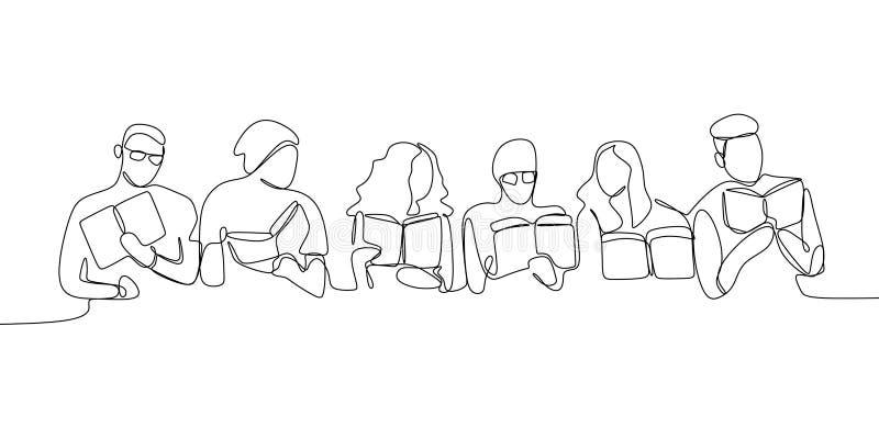 Непрерывные книги чтения карандашных рисунков совместно иллюстрация вектора
