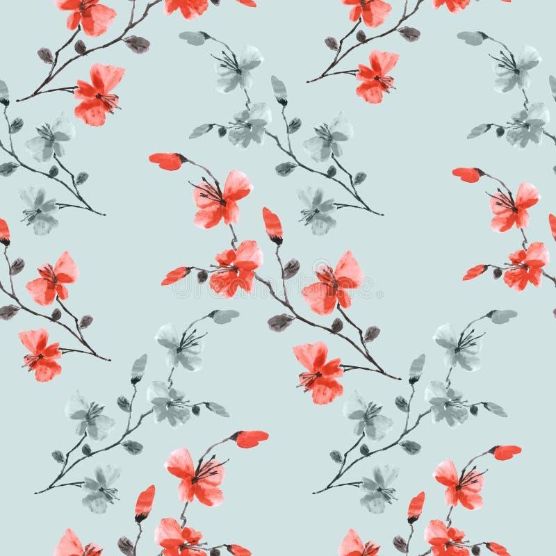 Непрозрачный рисунок, маленький дикий красный и зеленый цветы на бирюзовом фоне Водный цвет -11 иллюстрация вектора