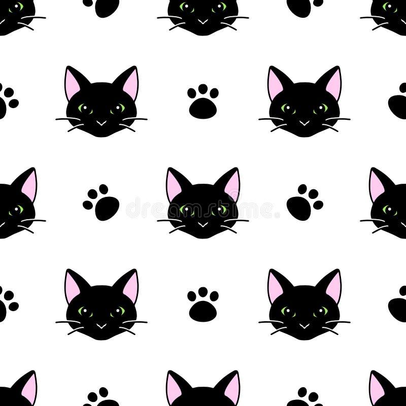 Непрозрачный рисунок с милыми черно-белыми головками кошек текстура для обоев, канцелярских принадлежностей, тканей, обертки, фон стоковое изображение rf