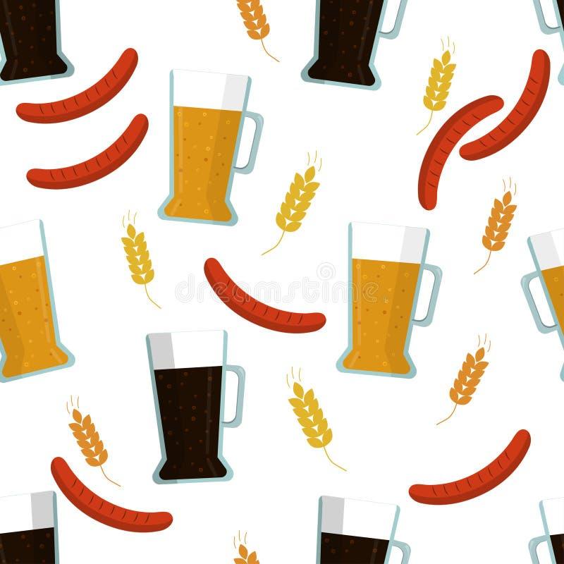 Непрозрачный узор: изолированный свет и близкое пиво, ржа и солод, барбекю на белом фоне Плоский вектор бесплатная иллюстрация