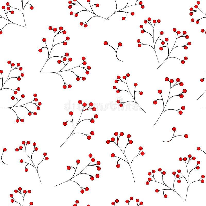 Непрозрачный узор: красные ягоды на черном стебле на белом фоне вектор иллюстрация бесплатная иллюстрация