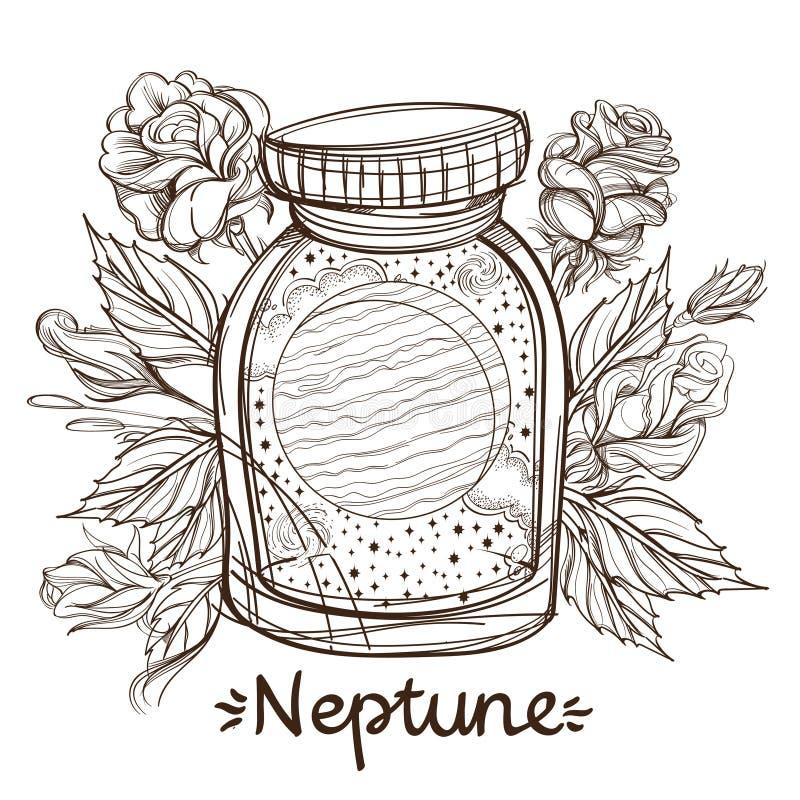 Нептун в стеклянном опарнике Планета солнечной системы в стеклянном шаре на стойке Иллюстрация для дизайна на иллюстрация вектора