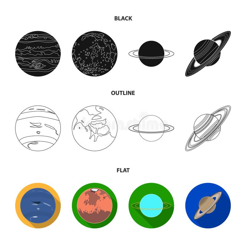 Нептун, Марс, Сатурн, Уран солнечной системы Установленные планетами значки собрания в черной, плоский, вектор стиля плана бесплатная иллюстрация