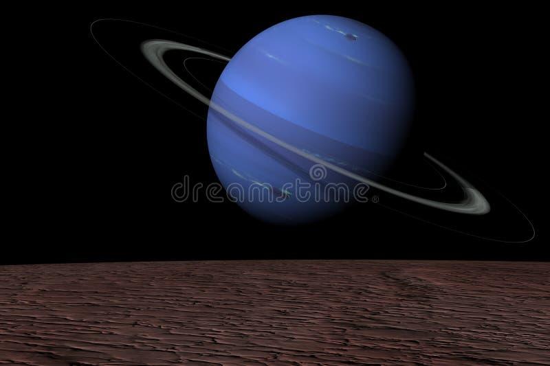 Нептун над поднимая тритоном иллюстрация вектора