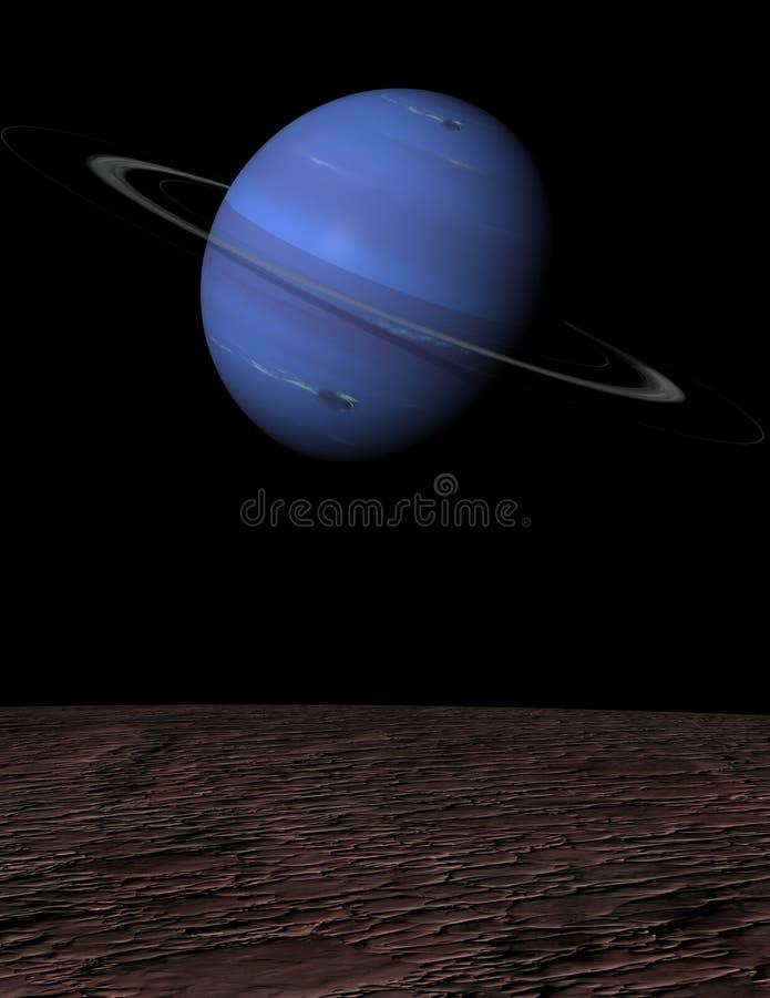 Нептун над портретом поднимая тритоном иллюстрация штока