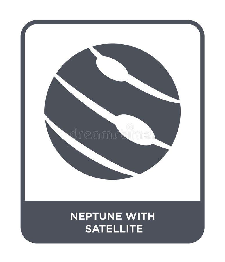Нептун со спутниковым значком в ультрамодном стиле дизайна Нептун со спутниковым значком изолированным на белой предпосылке Непту иллюстрация штока